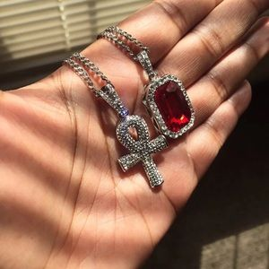 "Other - Ankh and Ruby Necklace with 20"" and 24"" Chain"